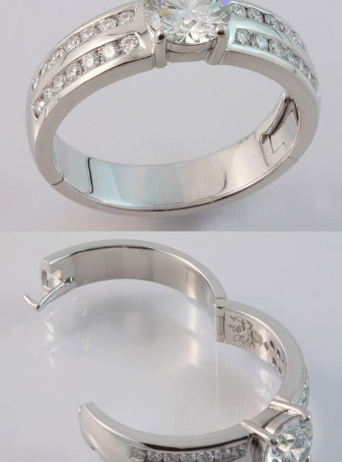 White gold hand made hinged diamond ring