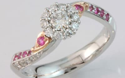 Hand made pink sapphire and diamond engagement ring