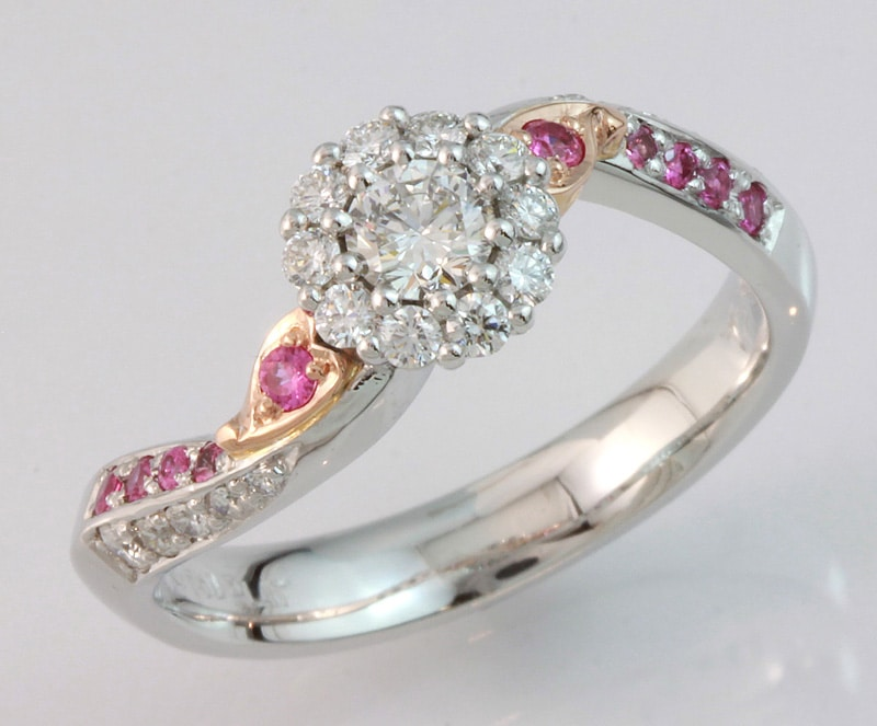Hand made engagement ring, custom made jewellery, pink sapphire and diamond engagement ring, unique jewellery designs,