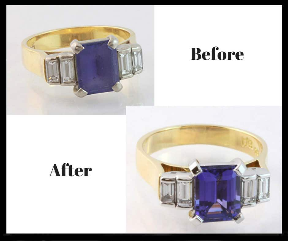 Gemstone polishing, jewellery renovations, jewellery restorations, before and after jewellery, abrecht bird jewellers