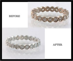 rhodium plating, before and after rhodium plating, rhodium plating your rings