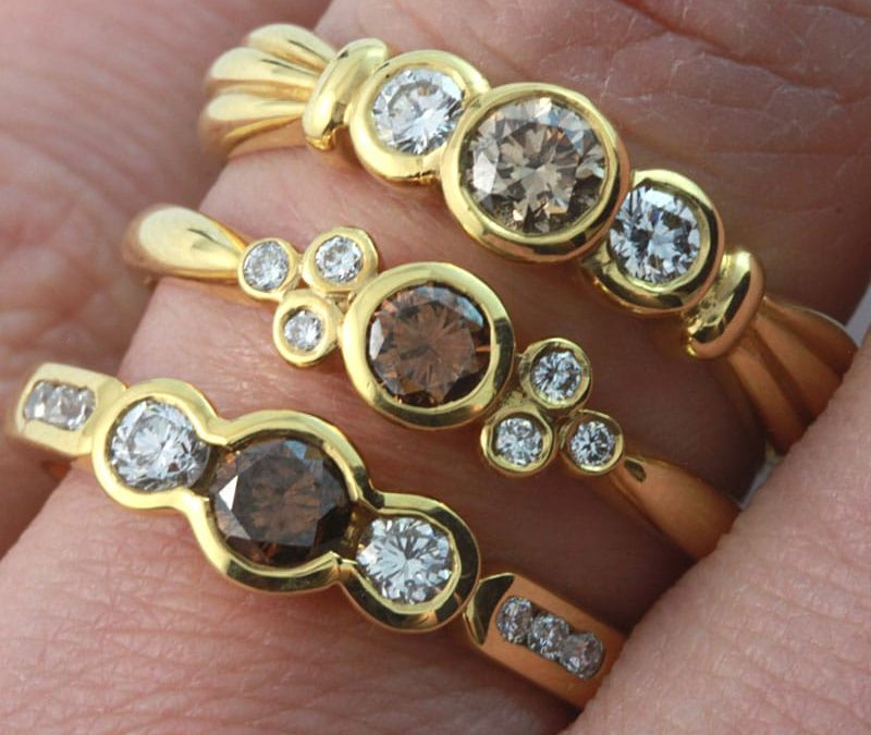 Cognac diamond rings