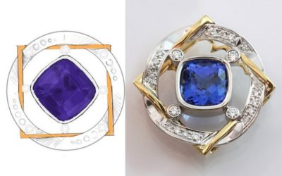Hand crafted Tanzanite and diamond pendant