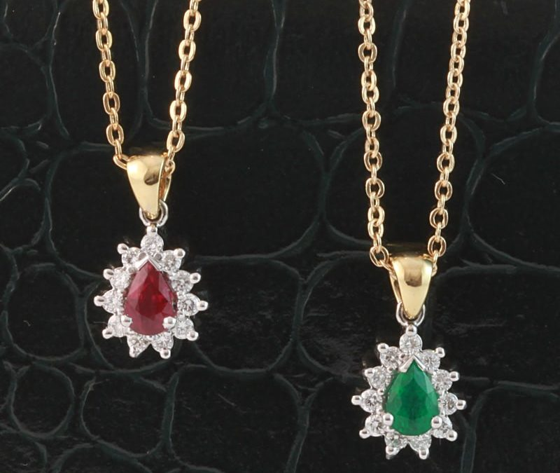 Ruby and emerald pendants