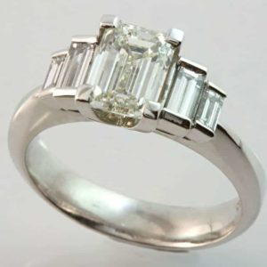 emerald cut diamond ring, hand made diamond ring, emerald cut engagement ring, Abrecht Bird, Abrecht Bird Jewellers