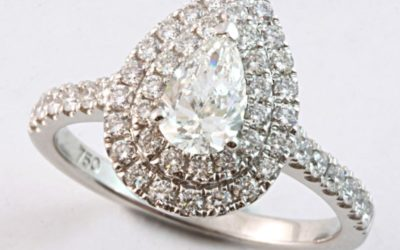120102 : Pear-shaped Diamond Double Halo Engagement Ring