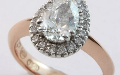 120058 : Two Tone Pear-shaped Diamond Halo Engagement Ring
