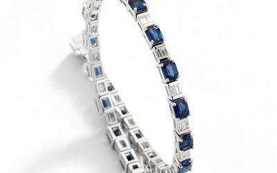 116126 :  Sapphire & Diamond Tennis Bracelet