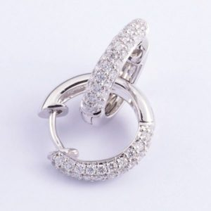 18 carat white gold diamond hoop earrings.
