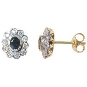 sapphire and diamond cluster earrings, sapphire earrings, Abrecht Bird, Abrecht Bird Jewellers