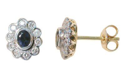 3980 : Sapphire & Diamond Cluster Studs