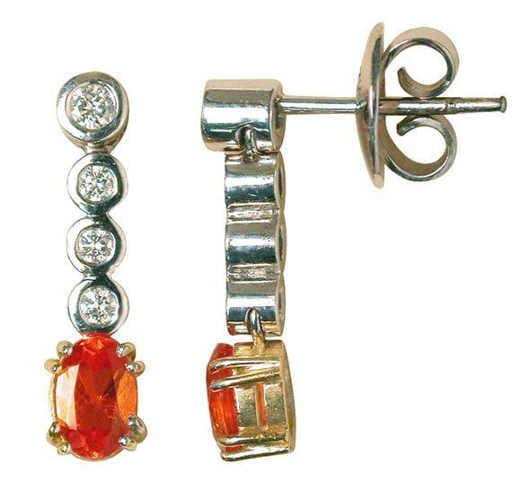 garnet drop earrings, orange garnet, drop earrings, diamond drop earrings, Abrecht Bird, Abrecht Bird Jewellers, mandarin garnet