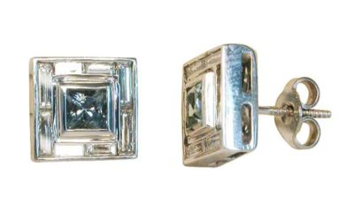 5005 : Aquamarine & Diamond Studs