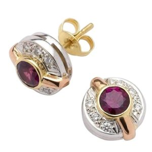 Ruby and diamond 18 carat white, yellow and rose gold circle and bar studs.