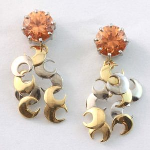 18 carat yellow and white gold mandarin garnet drop earrings