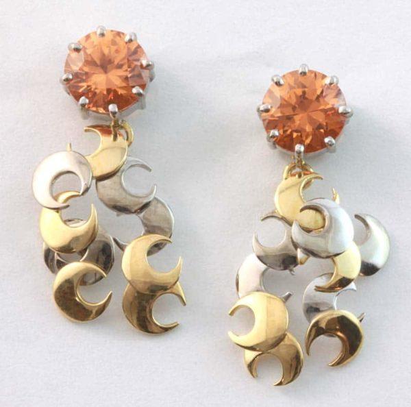 18 carat yellow and white gold mandarin garnet drop earrings
