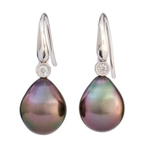 18 carat white gold Tahitian pearl and diamond drop earrings.