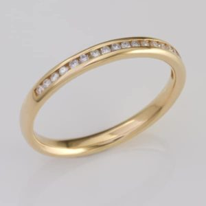 Yellow gold channel set diamond ring, 18 carat yellow gold diamond wedding ring