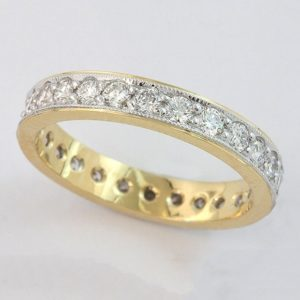 Yellow gold pavé set diamond wedding ring