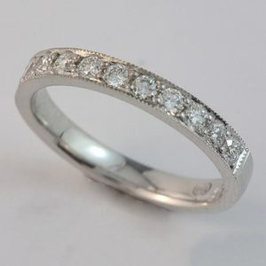 White gold diamond ring, White Gold Pavé set Diamond wedding ring