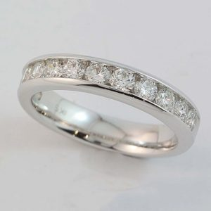 Channel Set Diamond Ring, 18 carat white gold channel set diamond ring set with twelve diamond equalling 1 carat
