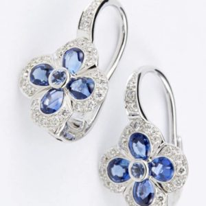 18 carat white gold cabochon sapphire and diamond earrings