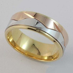 Gents 3 tone angular wedding ring