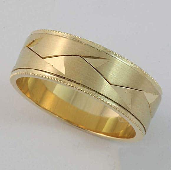 Gents woven wedding ring in 18 carat yellow gold