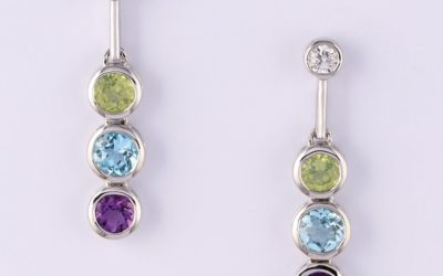 118668 : Diamond, Peridot, Blue Topaz & Amethyst Earrings