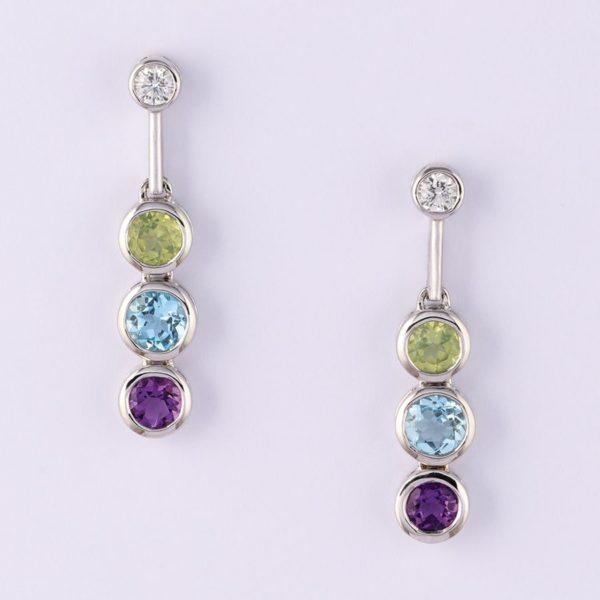 18 carat white gold diamond, peridot, blue topaz and amethyst earrings