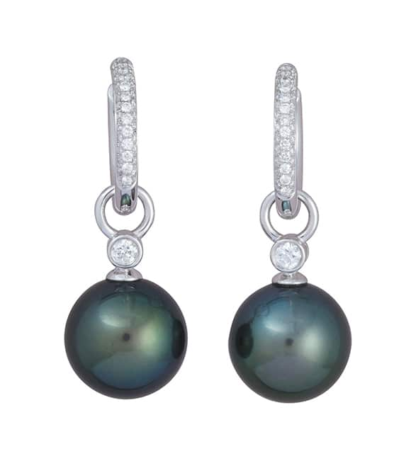 Tahitian pearl and diamond drops suspended from 18 carat white gold hinged pavé set diamond hinged 'Huggie' earrings.