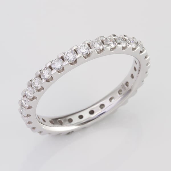 White Gold Diamond Wedding Ring, 18 carat white gold claw set diamond wedding ring