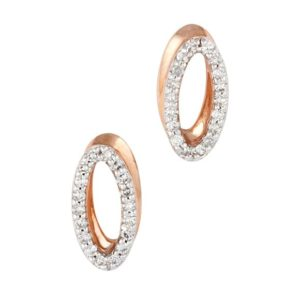 Oval shaped 9 carat rose gold pavé diamond set stud earrings.