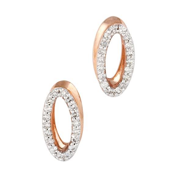 Oval shaped 9 carat rose gold pavé diamond set stud earrings.