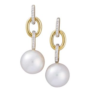 Fancy 18 carat yellow and white gold 'link' drop studs with suspended South Sea pearls.