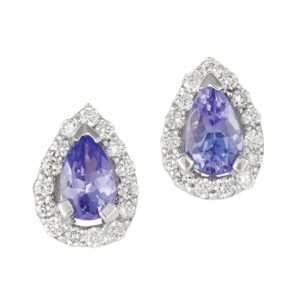 Tear drop Tanzanites with claw set diamond halo studs earrings.