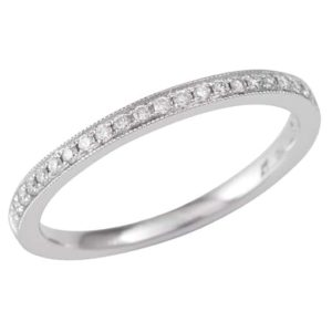 White gold diamond ring, White gold full circle pavè set wedding ring