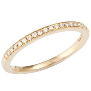 Yellow gold diamond ringYellow gold full circle pavé set wedding ring