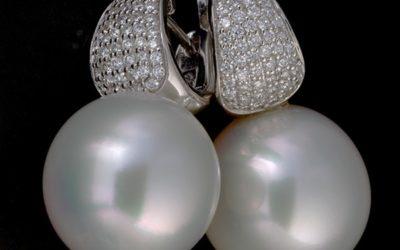 119082 : Pearl & Diamond Earrings