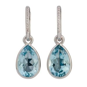 18 carat white gold topaz and diamond drop earrings.