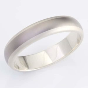 9 carat white gold and titanium mens ring with burshed finish detail