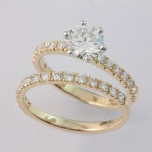 18 carat yellow and white gold diamond engament and wedding ring set