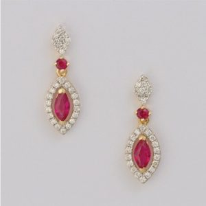 18 carat yellow gold ruby and diamond drop earrings