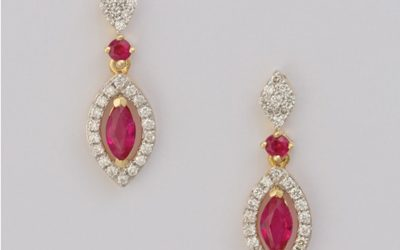 119389 : Ruby & Diamond Drop Earrings