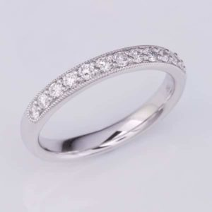 White Gold Diamond Ring, 18 carat white gold diamond wedding ring with a mille grained edge