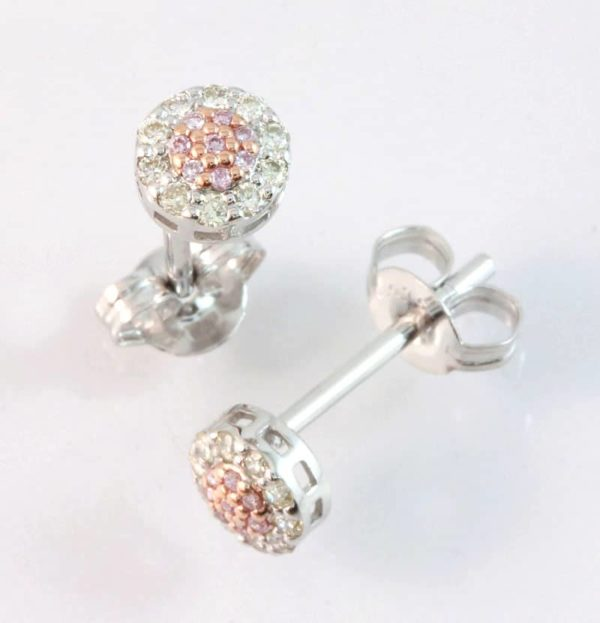 9 carat white and rose gold pink and white diamond stud earrings