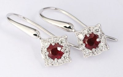 119591 : Ruby & Diamond Drop Earrings