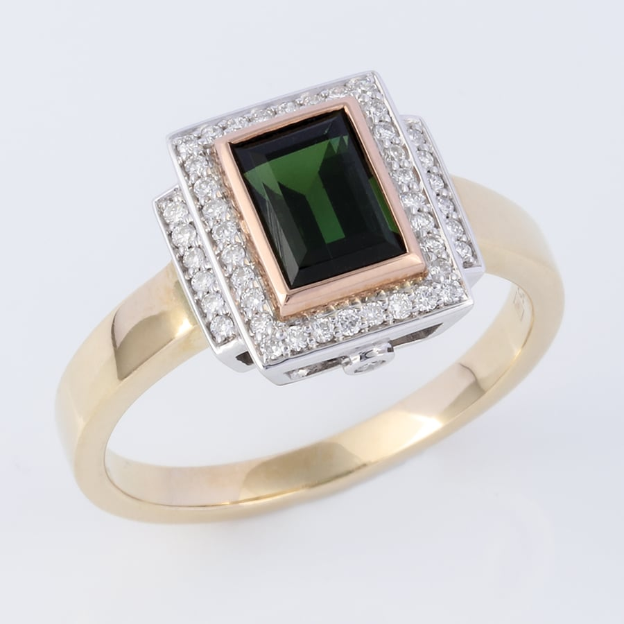 tourmaline jewellery, tourmaline ring, three tone tourmaline ring, emerald cut green tourmaline ring, diamond and tourmaline ring,