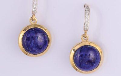 119662 : Lapis Lazuli & Diamond Drop Earrings