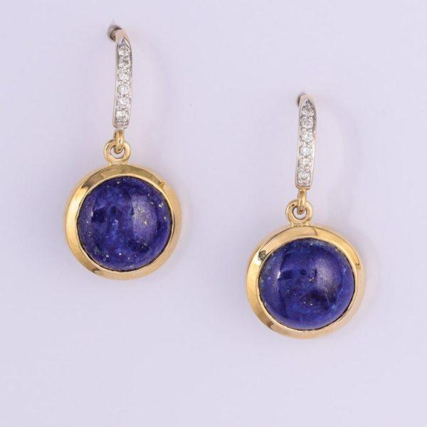 9 carat yellow gold lapis lazuli and diamond drop earrings